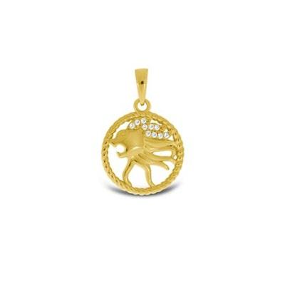 Stjernetegn Løven anheng i forgylt sølv,u/kjede