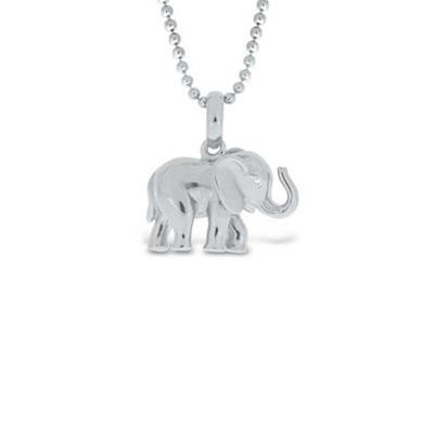 Lykkeelefanten Anheng i blank sølv 80cm kjede