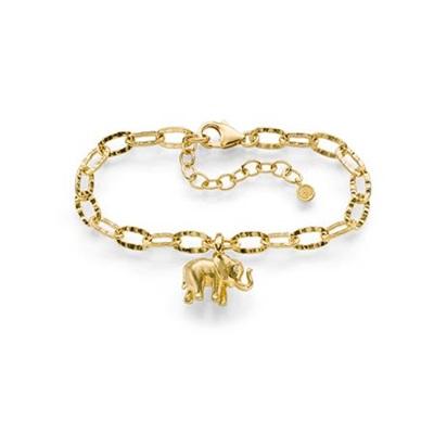 Lykkeelefanten Forgylt armbånd i sølv 17,5+3cm