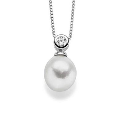 Mia Anheng i sølv med barokk perle 45cm kjede