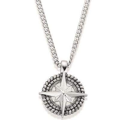 Kompass Anheng i sølv med 50cm kjede