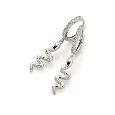 GD Snake Øreringer i sølv med zirkonia stener