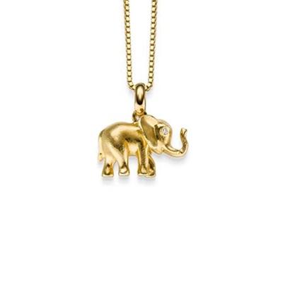 Lykkeelefanten Forgylt anheng i sølv 45cm kjede