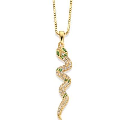 Shiny Snake Forgylt anheng i sølv m/zirk.45cm