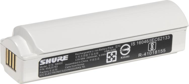 Shure SB920 Rechargeable Battery For ADX2