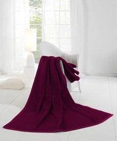 Pledd Fleece Orion cotton Plain Burgundy 220x240cm