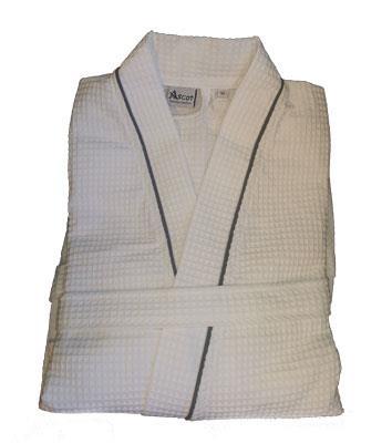 Ascot Vaffel badekåpe one size hvit med grå piping