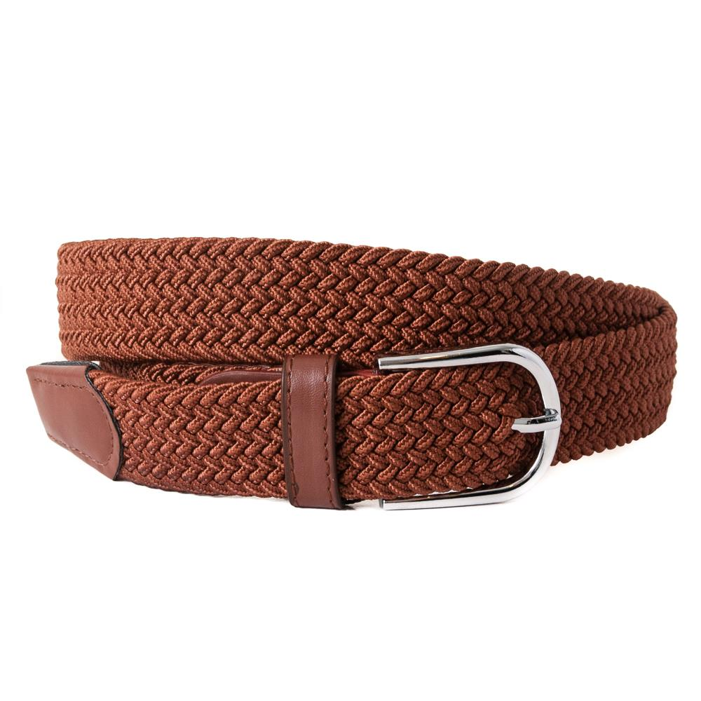 Belt, elastic braided cognac