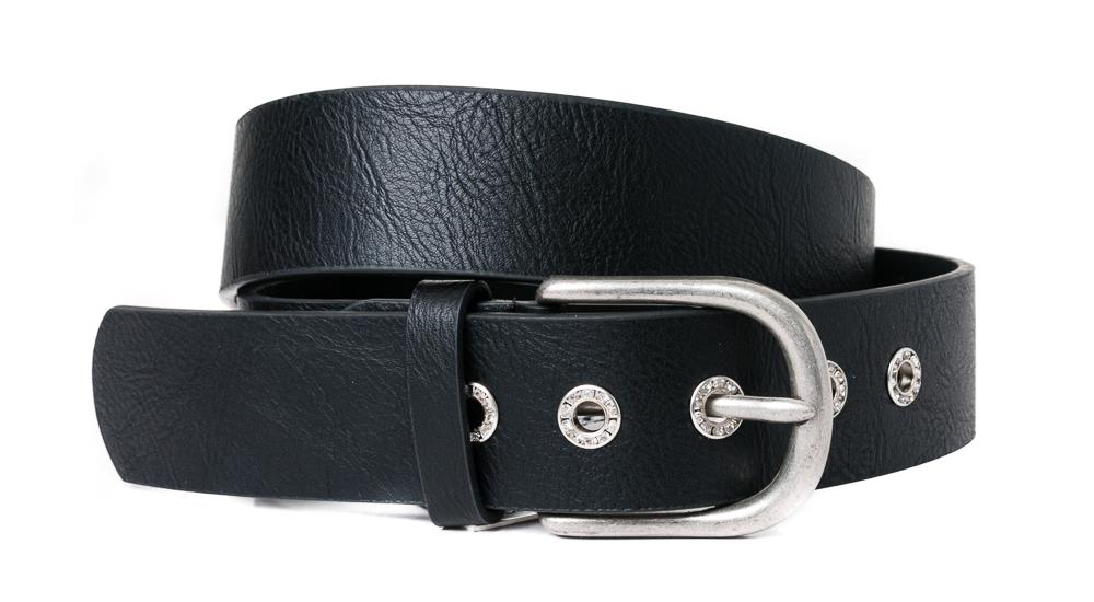 Belt, PU/Leather plain w crystal sirkels black