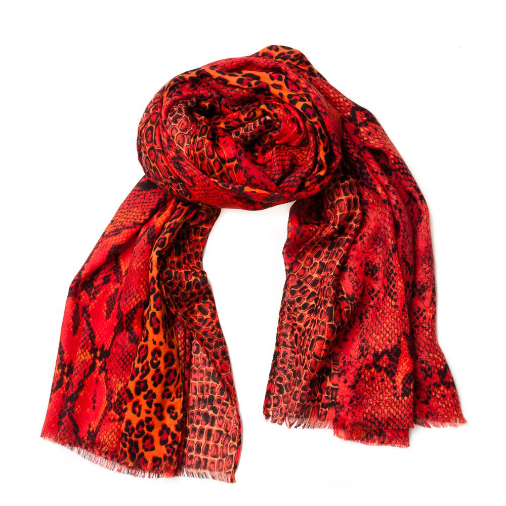 Scarf, colorfull snakeprint brick