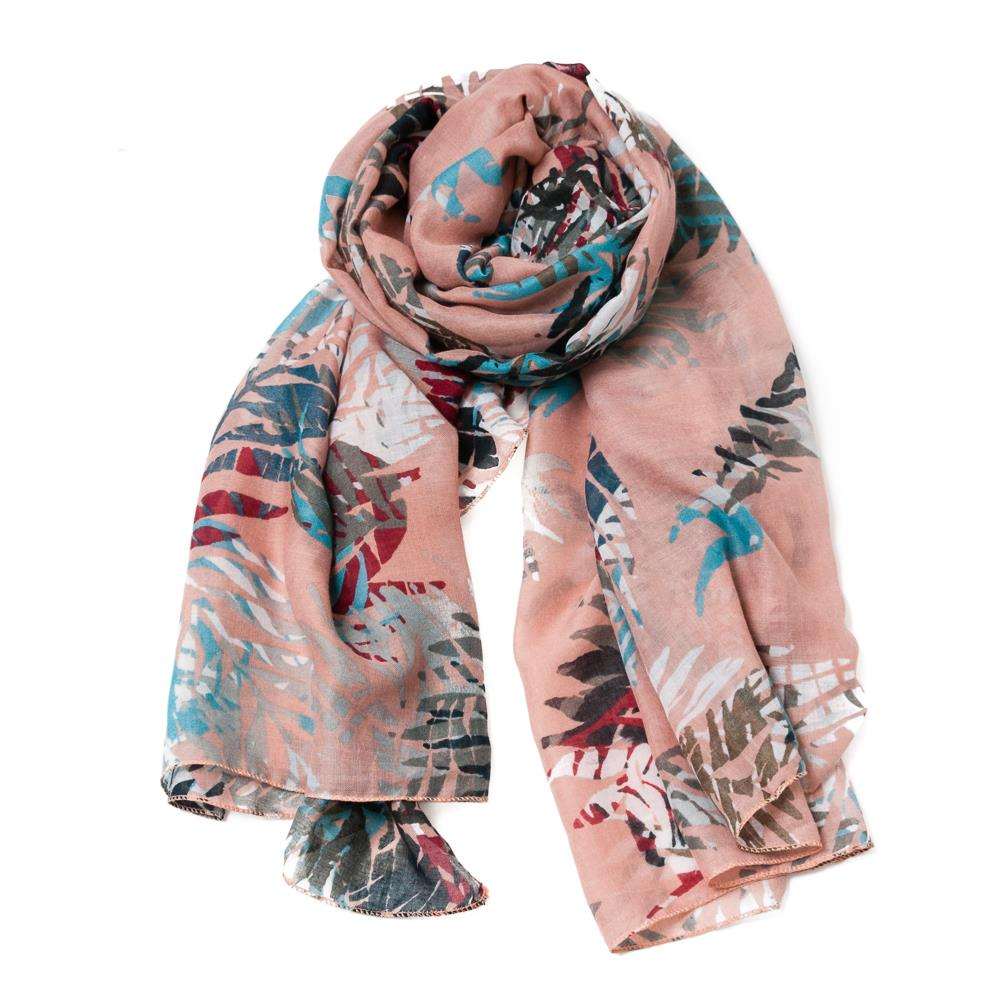 Scarf, featherprint dusty pink