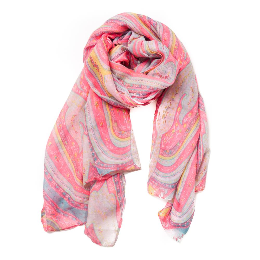 Scarf, bright pink paisley