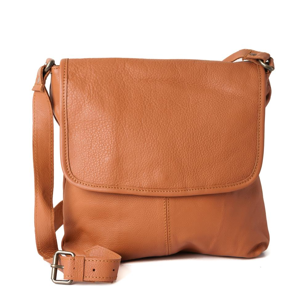 Bag, leather with flip NDMI cognac