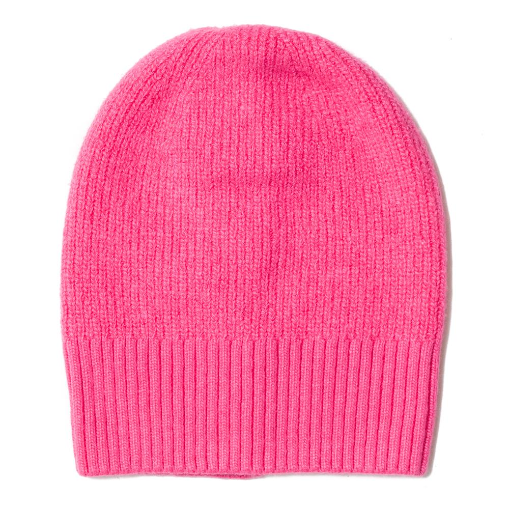 Hat, knitted wool plain pink