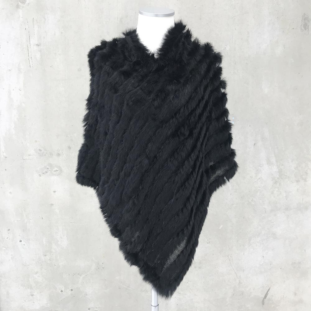 Scarf, fur poncho with hut  Black