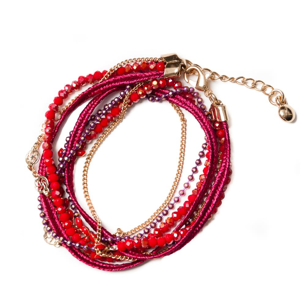 Bracelet, multichain and feather red