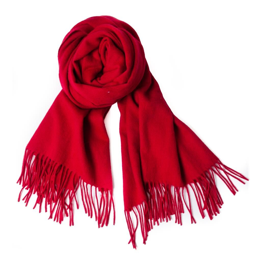 Scarf boiled wool scarf w fringes, red