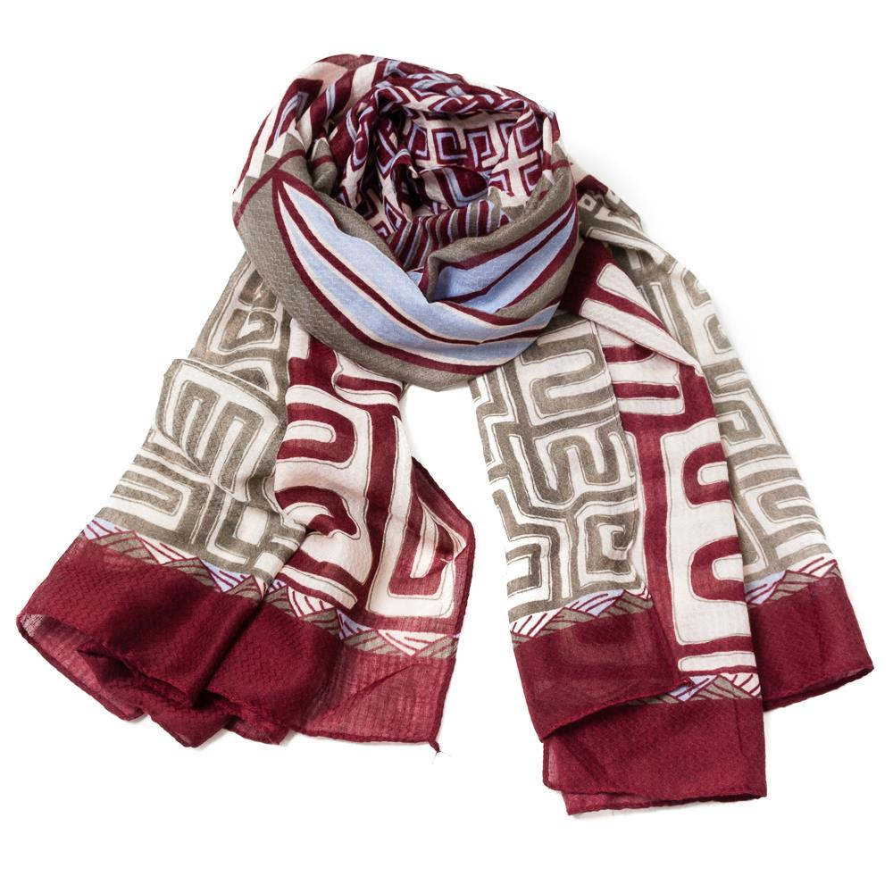 Scarf, Greek pattern bordeaux