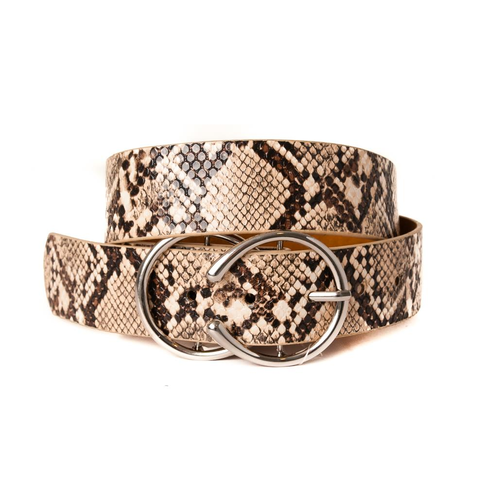 Belt, pu/leather snake double ring buckle