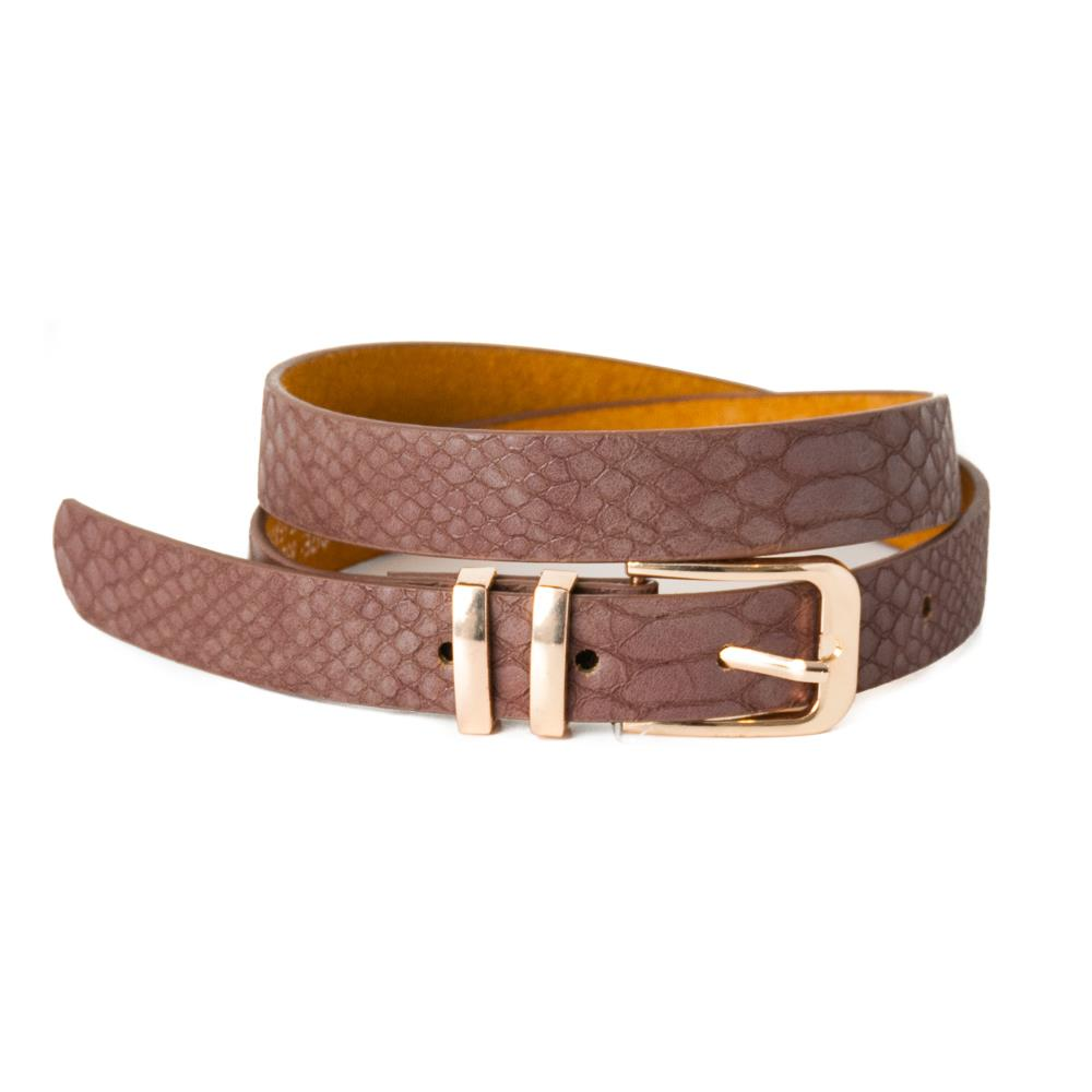 Belt, pu/leather croco square buckle trippel metal loop dk brown