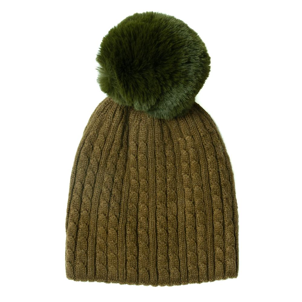 Hat, knitted kabel, knitted lining green