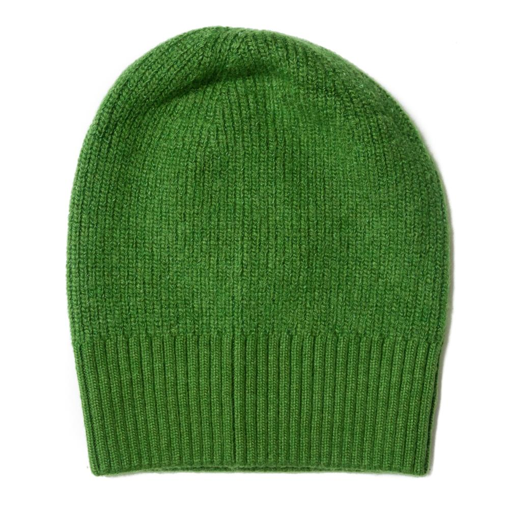 Hat, knitted wool plain green
