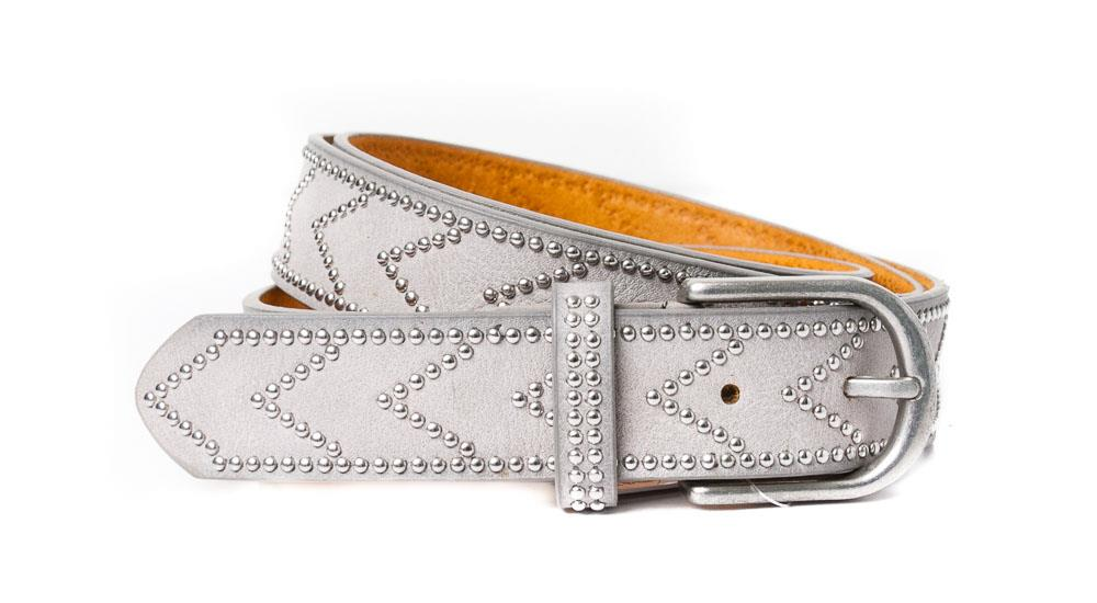 558386a BIG SIZE Belt, PU/Leather arrow rivets grey