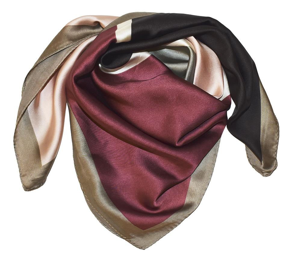 Scarf, Silk-look scarf with grafical pattern