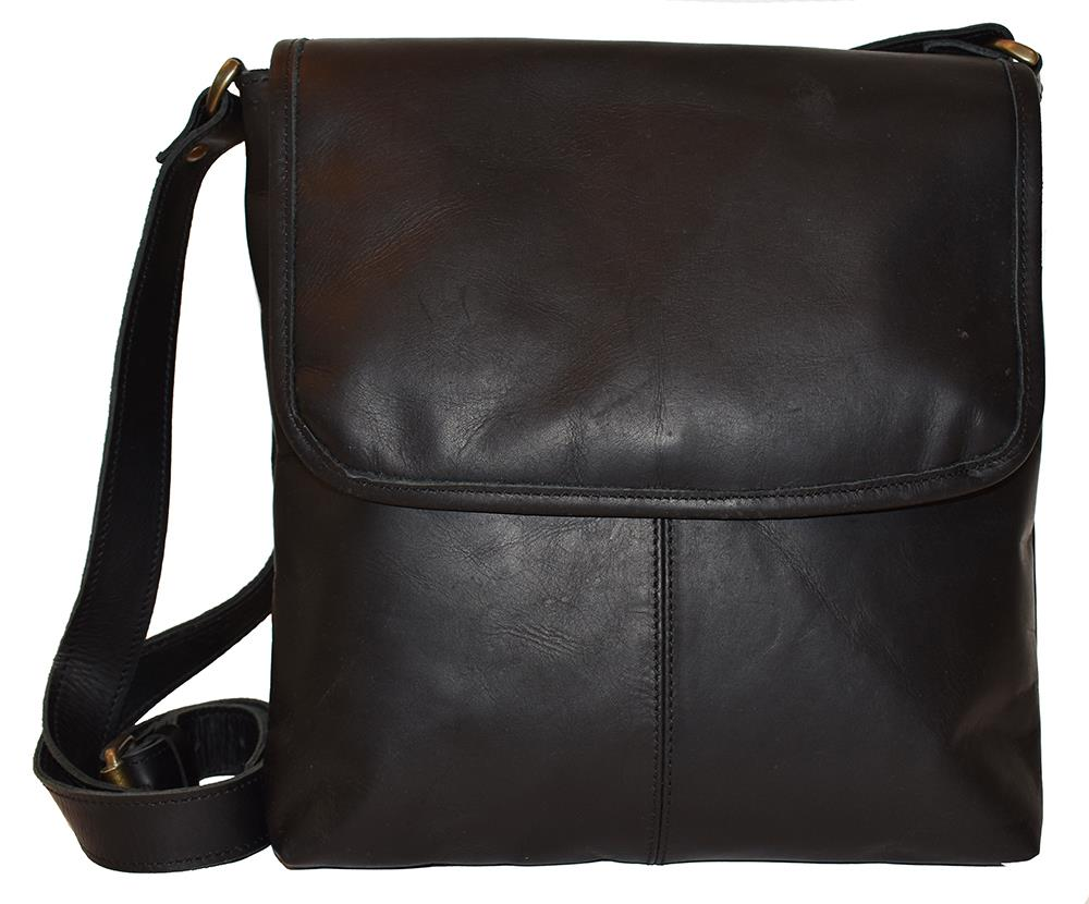 Bag, leather with flip black