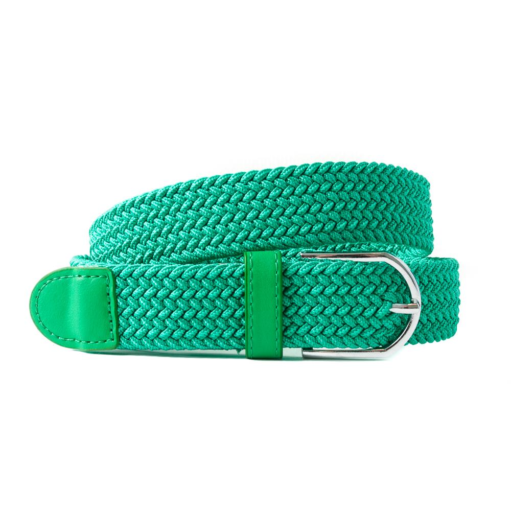 Belt, elastic braided bright green