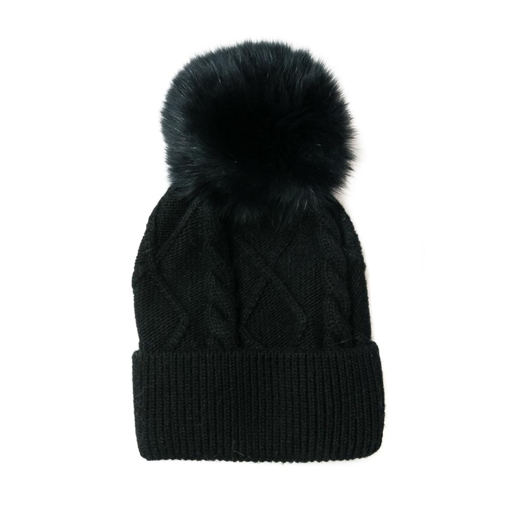 Hat, knitted kabel, pull up edge black