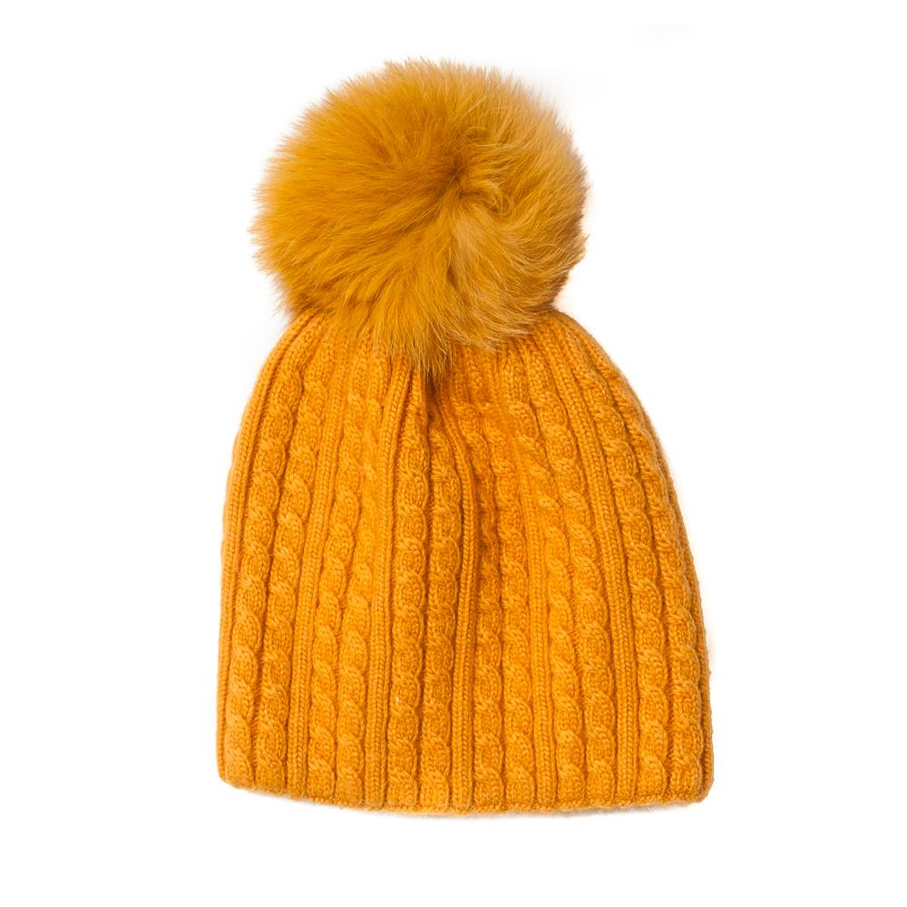 Hat, knitted kabel, knitted lining mustard