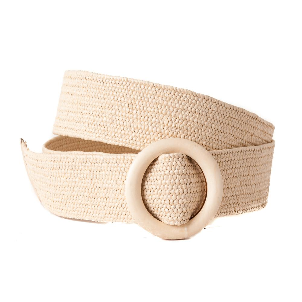 Belt, wide elastic wood buckle offwhite