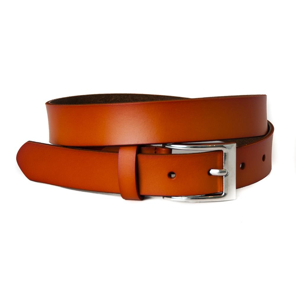 Belt, leather square buckle orange