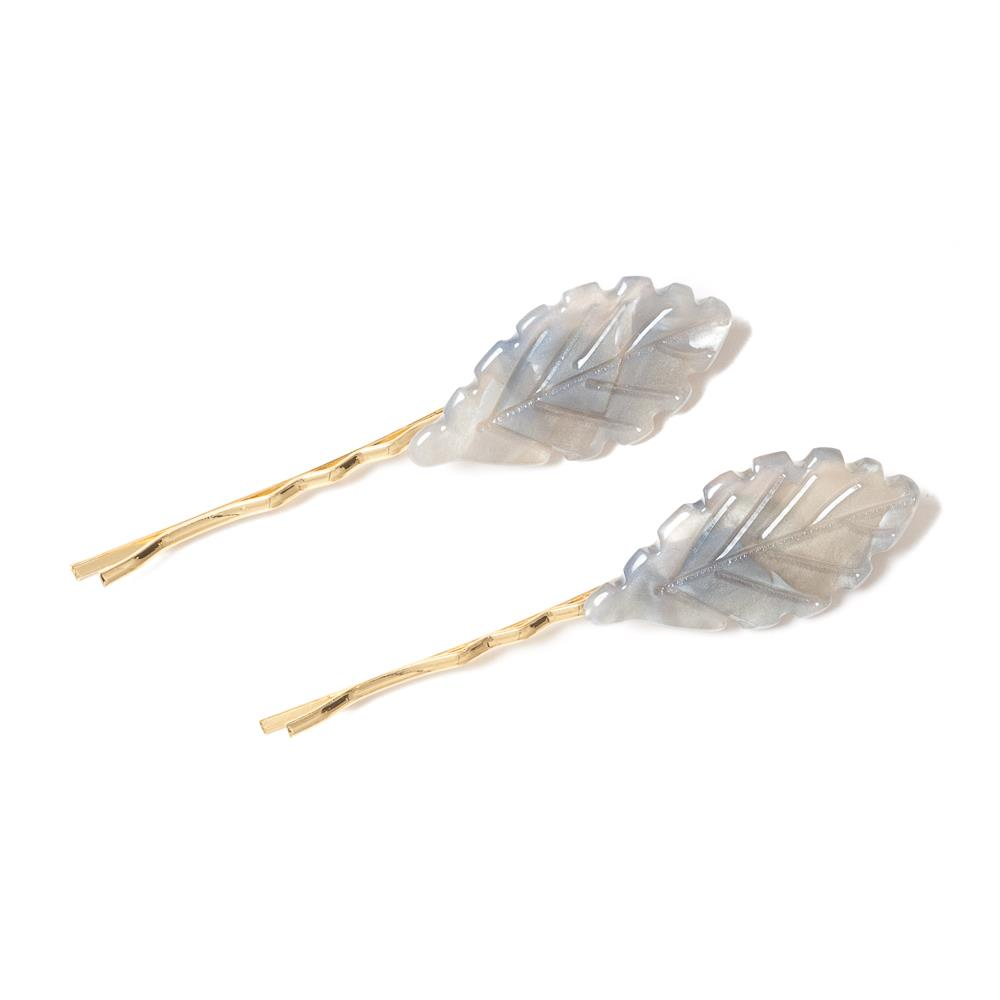 Jewlery, pair of smallleaf hairclips grey
