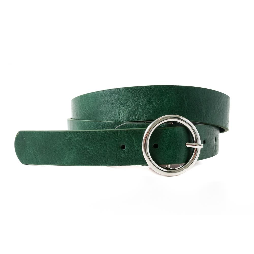 Belt, with sirkle buckle dk green