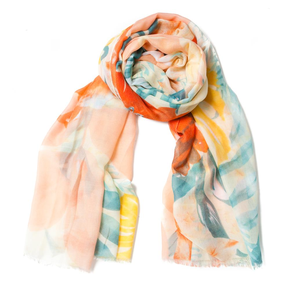 Scarf , orange and coral flower print black