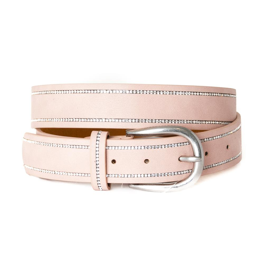 EXTRA LENGTH Belt, strass stone covered edge Lt.Pink