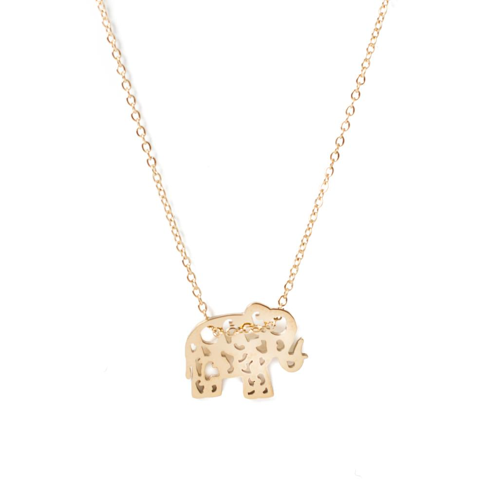 Necklace,Steel Elephant 14 gold carat