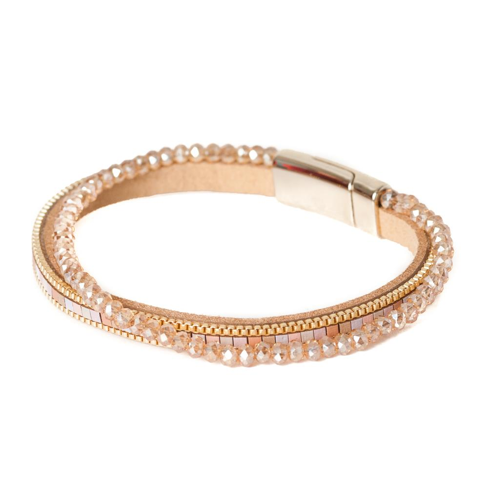 Bracelet, double with crystal pink