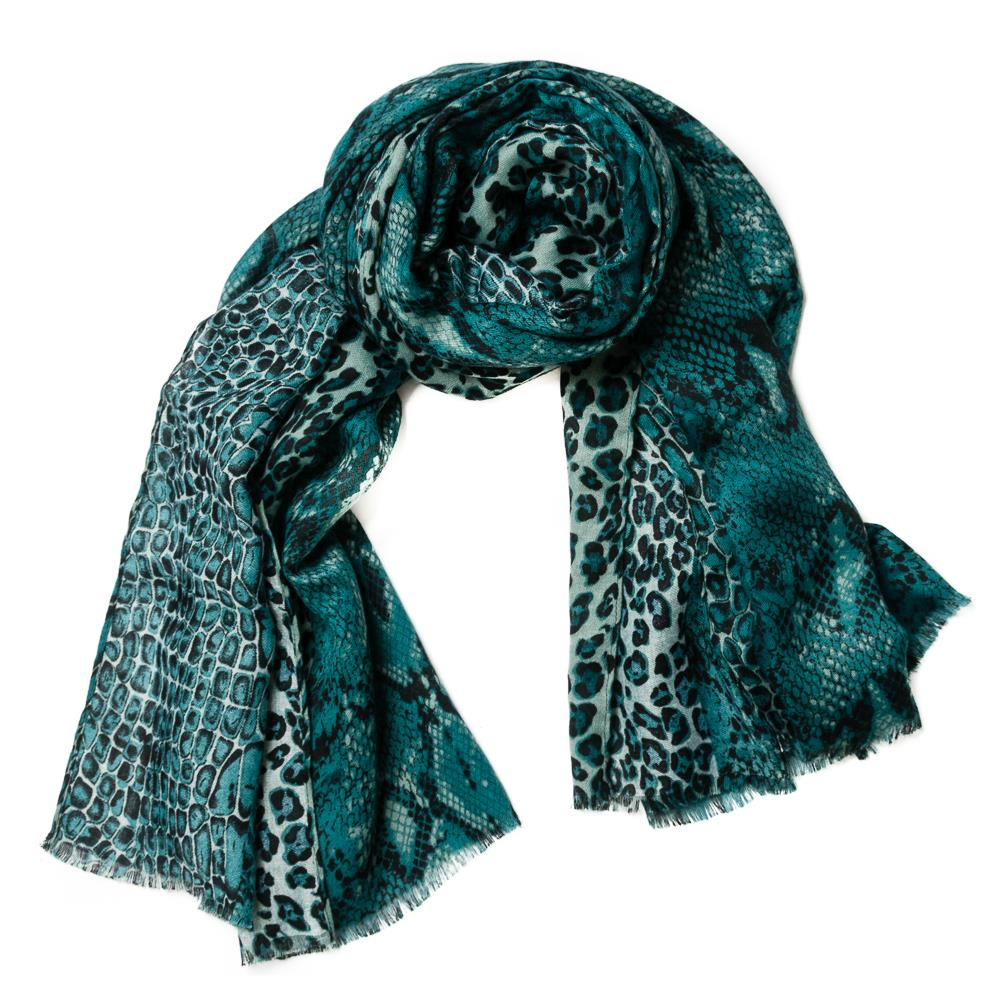 Scarf, colorfull snakeprint green