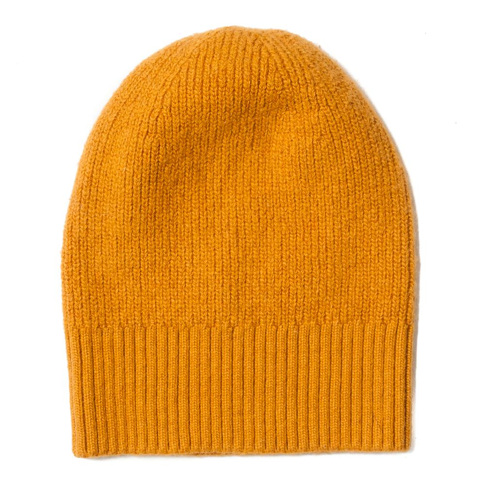 Hat, knitted wool plain yellow
