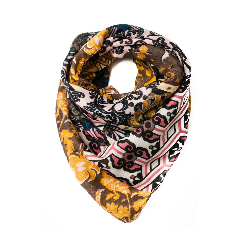 Scarf, Square Multiprint Mustard