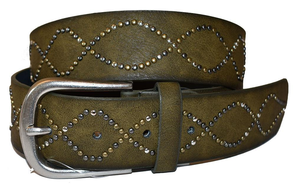 Belt, crossing rivets pattern
