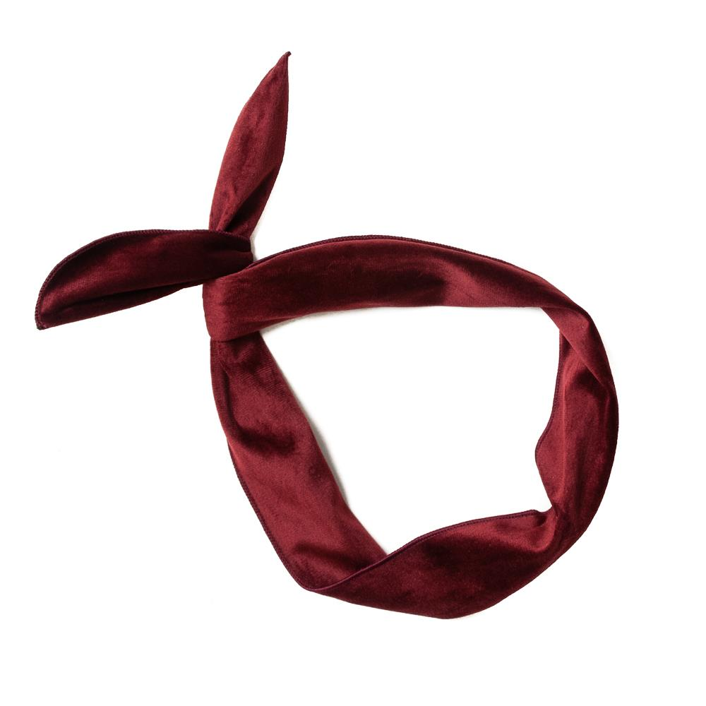 Headband, Plain Velvet Wire bordeaux