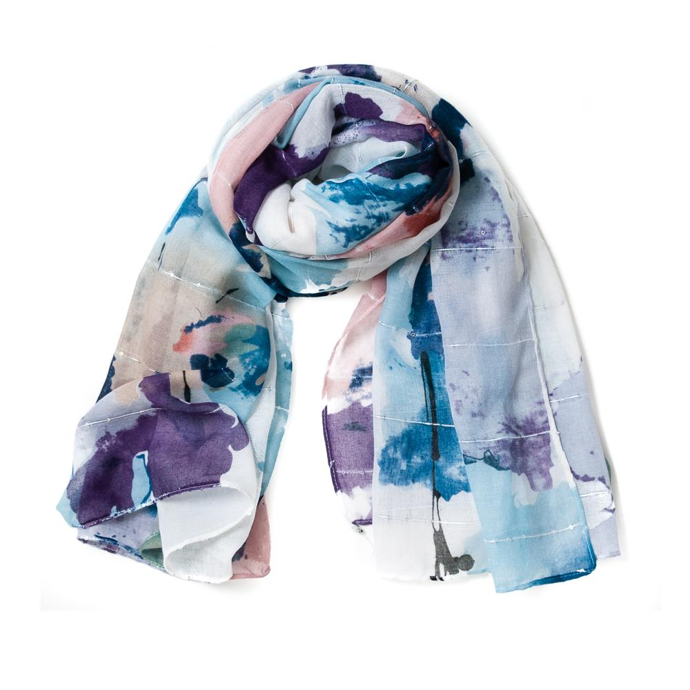 Scarf, smudge flower purple
