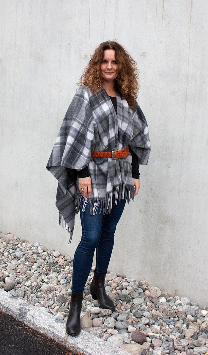 Scarf, Wool poncho with fringes