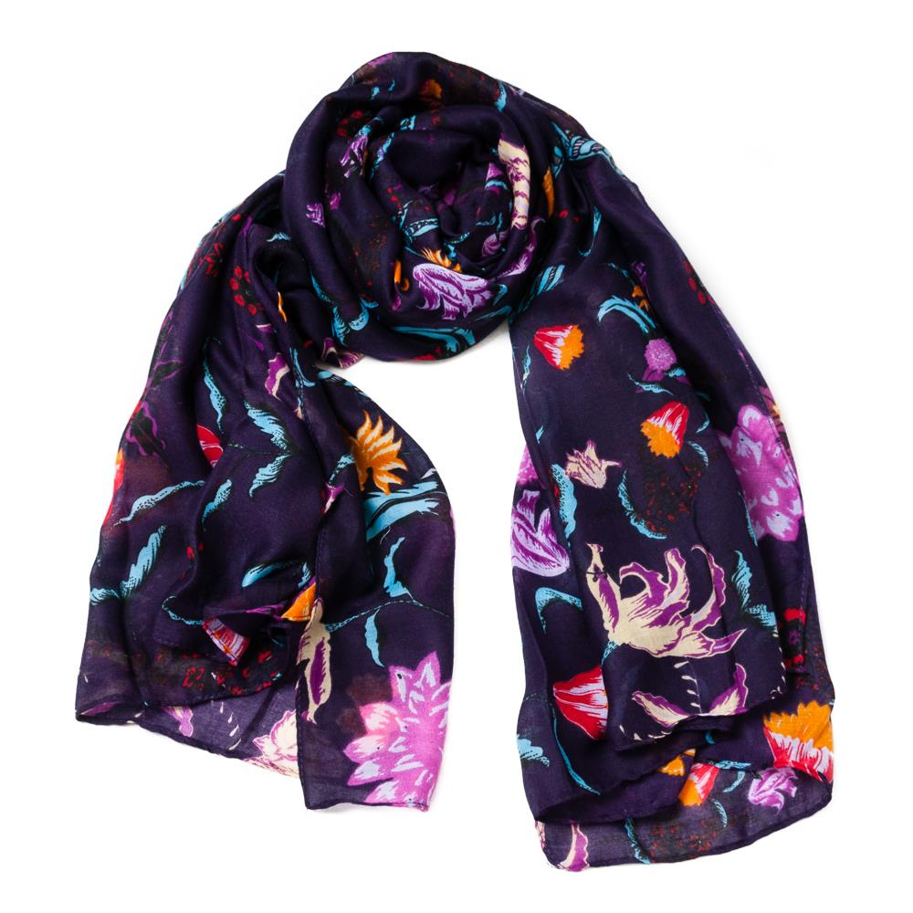 Scarf, autumn flower purple
