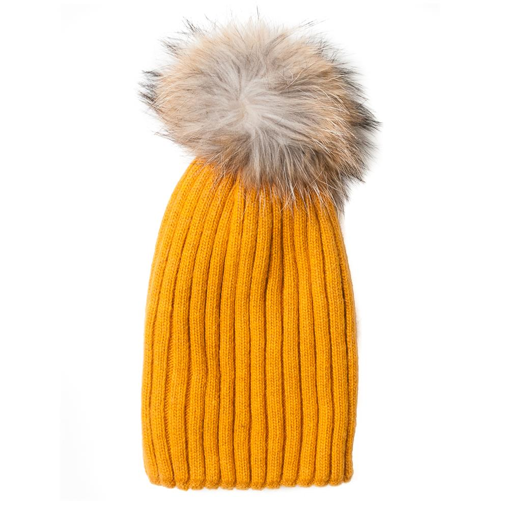 Hat,kabel knitted w fur pompom yellow