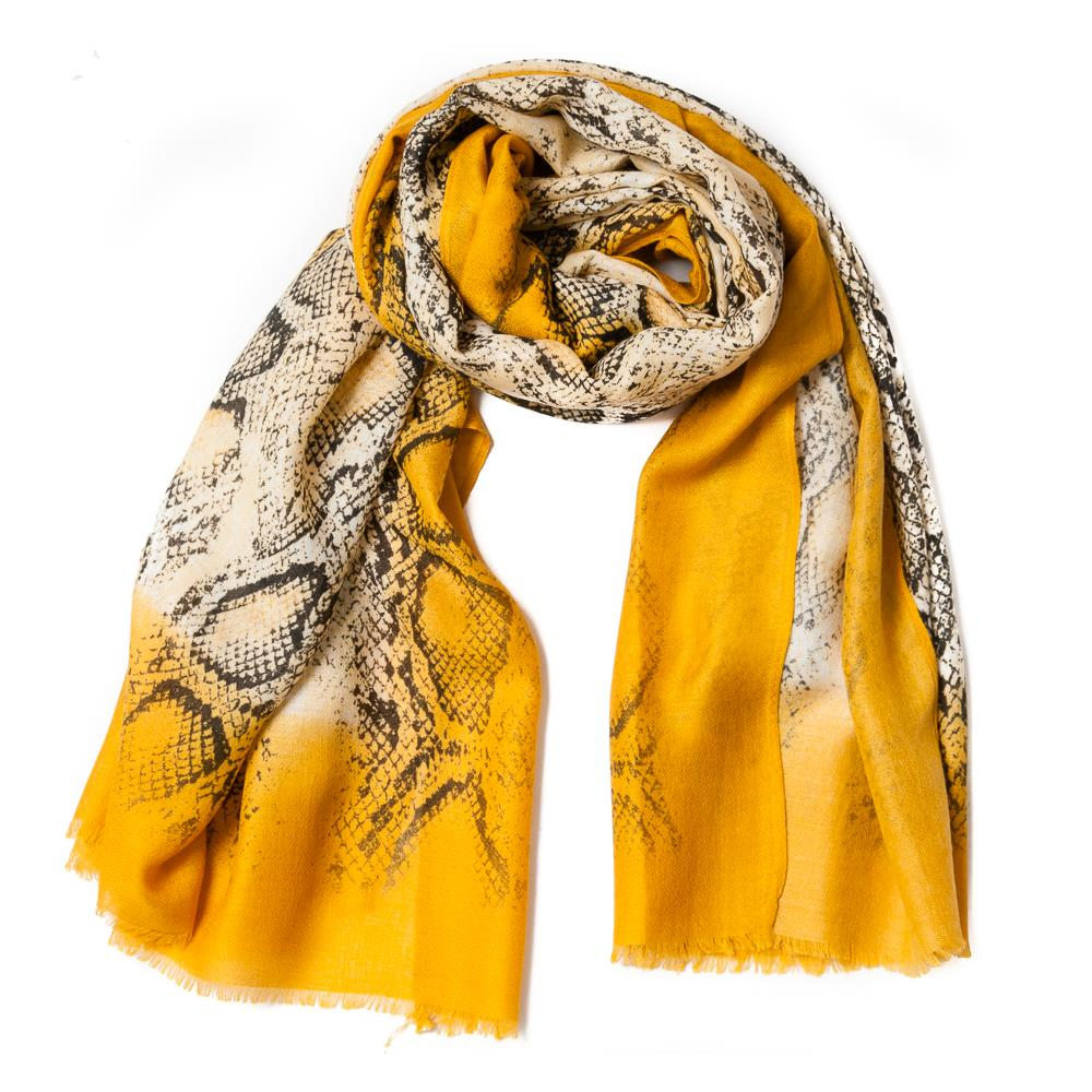 Scarf , snakeprint yellow